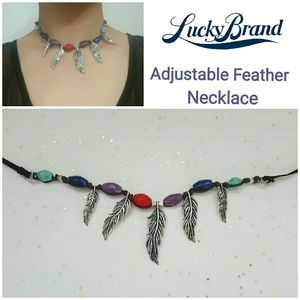 LUCKY BRAND, Boho Feather & Bead Necklace/ Chocker